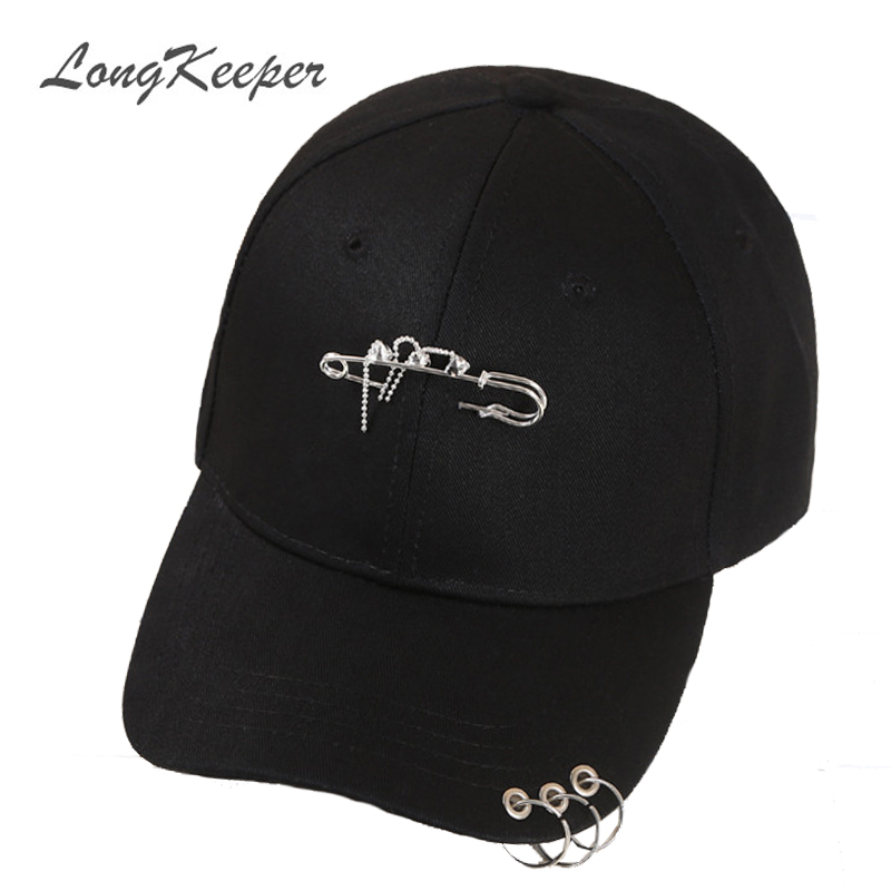 LongKeeper Ring Hoop Baseball Cap Safety Pin Hip Hop Strakback Snapback Hats For Men Women Sport Casquette Gorras Cap Dad hat american eagle black logo cap baseball cap fitted hat casual cap gorras hip hop snapback hats wash cap for men women unisex