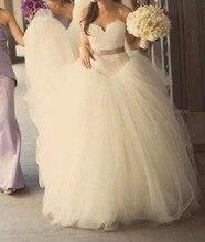 Real Sample Romantic Vestido de Noiva 2014 Lace Top White Princess Wedding Dresses Poofy Bridal Gown Custom Made Size