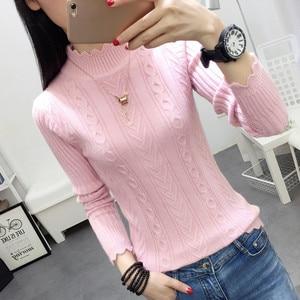 Image 2 - 韓国の冬のセーターの女性のハーフタートルネック長袖ヘッド底入れシャツ半袖スリムスリムニット肥厚ツイスト
