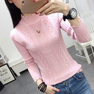 Image 2 - Koreanischen winter pullover weibliche hälfte rollkragen hülse kopf bodenbildung Shirt Kurzen schlanken schlank knit verdickte feste twist