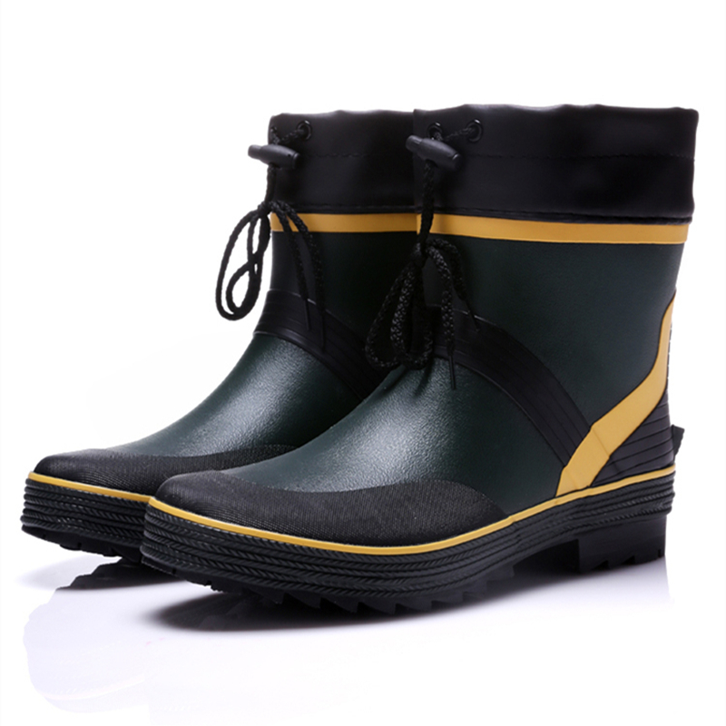 8af3b20ef Drawstring Ankle Mens Rubber Rain Boots Men Water Shoes Pvc Waterproof  Gummisitefel Rainboots Quality Anti slip Botas Hombre on Aliexpress.com |  Alibaba ...