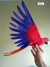 cute real life red&blue wings parrot model foam&feather simulation bird gift about 35x55cm xf0264