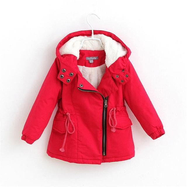 Children Girls Winter Coats Plus Velvet Thick Hooded Sherpa Cotton ...
