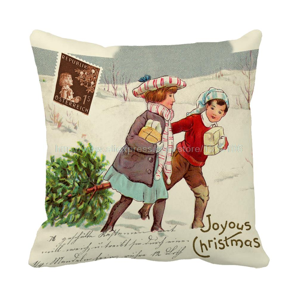 Joyous christmas festival atmosphere kids print luxury chair bed cushions home decor almofada kids sofa throw decorative pillows