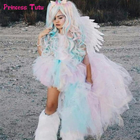 Pastel Rainbow Girls Tutu Dress Unicorn Girl Birthday Party Dress Up with Headband Child Kids Princess Halloween Dress Costumes