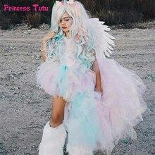 Pastel gökkuşağı kız Tutu elbise Unicorn kız doğum günü partisi elbisesi ile kafa bandı çocuk çocuklar prenses cadılar bayramı elbise kostümleri