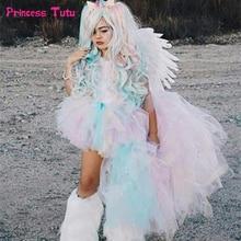 Vestido de festa de aniversário da menina do unicórnio vestido de tutu das meninas do arco íris pastel fantasiar se com bandana criança crianças princesa vestido de halloween trajes