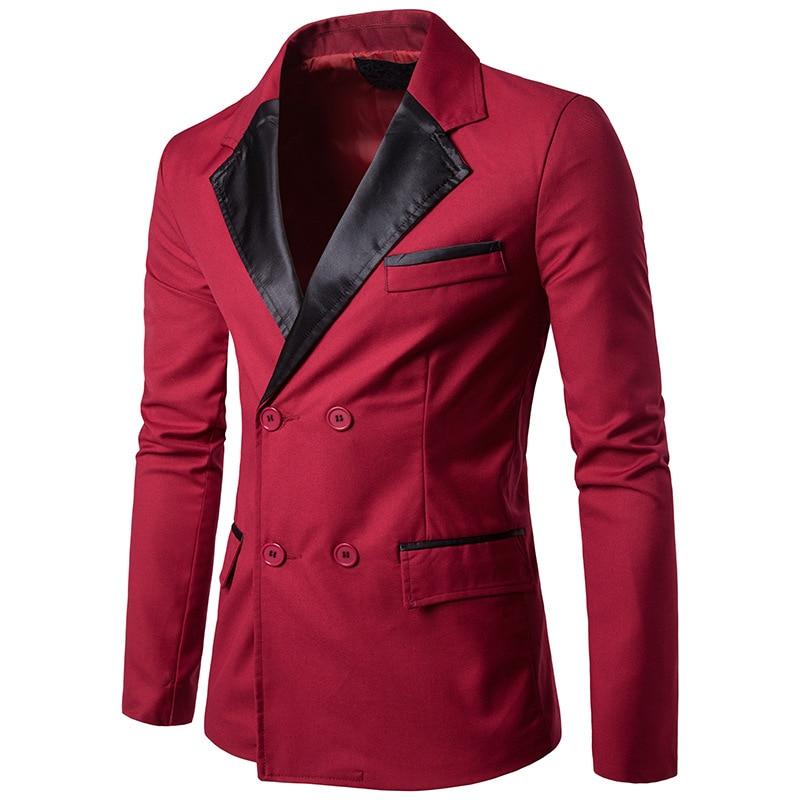 PU Collar Pattern Men Red Blazer 2017 Fashion Casual Slim Fit High Quality Suit Jacket Men