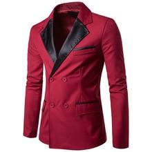 PU Collar Pattern Men Red Blazer 2017 Fashion Casual Slim Fit High Quality Suit Jacket Men Blazer Masculino Korean Style