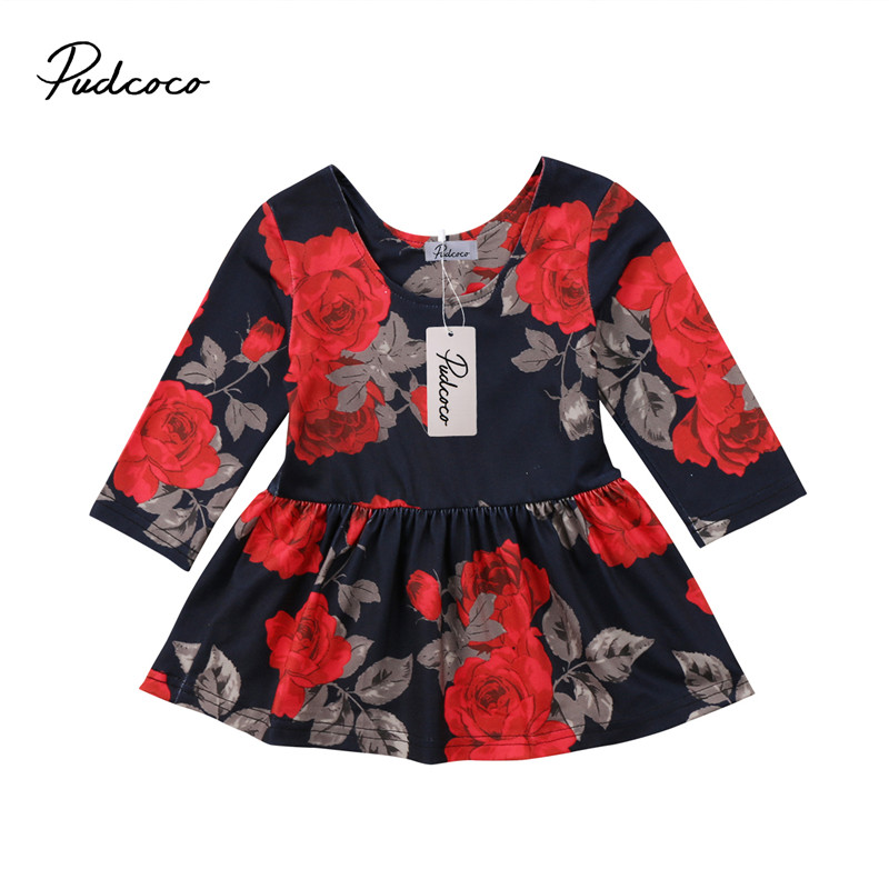 Pudcoco Hot sell Newborn Baby Girls Dress Floral Long Sleeve Party Pageant Prom Formal Dress Clothes