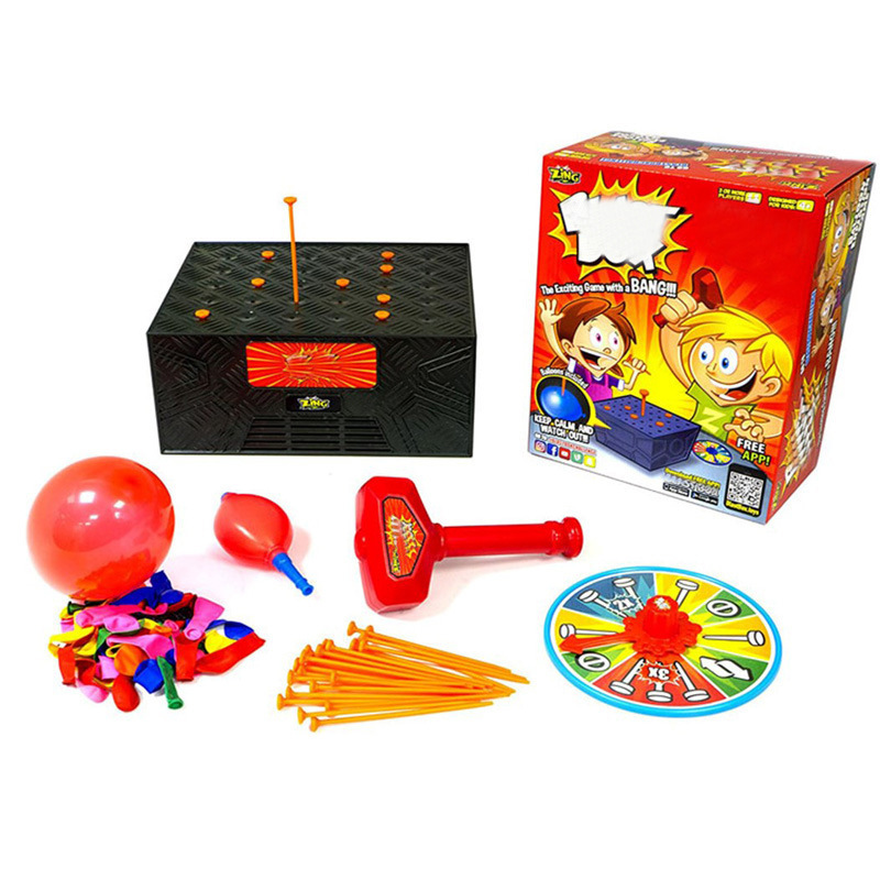 Oyuncaklar ve Hobi Ürünleri'ten Oyun Odası'de Yaratıcı Komik Prank Masaüstü Oyun Patlama Kutusu ahşap kutu Tricky Oyuncak Patlama Balon ebeveyn çocuk Etkileşimi Oyun Hediye title=