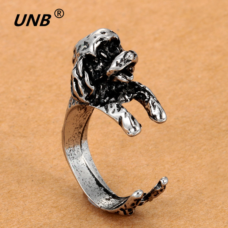 Devoted 1pc Animal Handmade French Bulldog Ring Wrap Ring - Cute Golden Silver Black Fashion For Women Chic Punk Rings Boho Teddy Professional Design