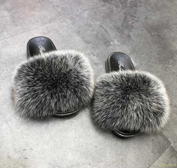 Hot Sale Fur Slippers Women Fox Home Fluffy Sliders Comfort With Feathers Furry Summer Flats Sweet Ladies Shoes PVC sole Home