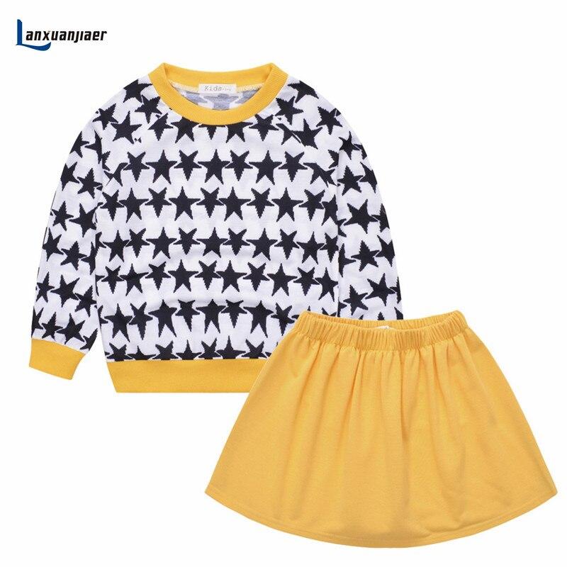Lanxuanjiaer Toddler Girls Clothing Set Winter Stars Sport Suit Autumn Kids Clothes  Girls Fashion  Tshirt + Tutu 2 piece  set женские толстовки и кофты 2 piece set women 2015 2 sport suit