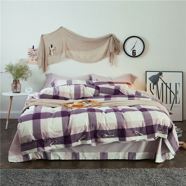 Comfortable Washed Cotton Bedding Set Queen King Size Plaid And Striped  Duvet Cover Pillowcase Bed Sheets