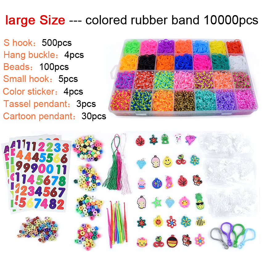 DOLLRYGA 10000pcs Rubber Loom Box DIY Bands Set Kid Bracelet Silicone Rubber Bands Elastic Rainbow Weave Loom Bands Children Toy
