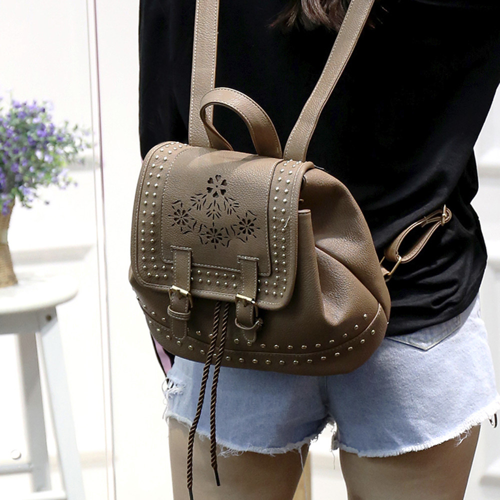 Fashion Women Backpack Vintage Floral Hollow Out Rucksack Drawstring School Bag Popular JUNE2