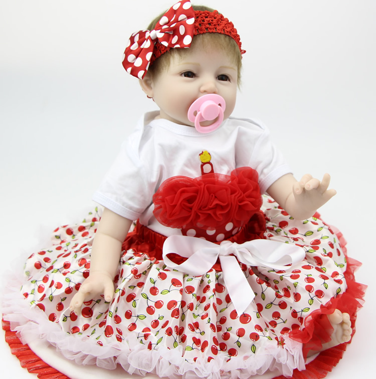 22 Inch 55cm Silicone Soft Reborn Baby Dolls Handmade Baby Newborn Lovely Babies Girl Kids Birthday Xmas Gift hot sale 2016 npk 22 inch reborn baby doll lovely soft silicone newborn girl dolls as birthday christmas gifts free pacifier