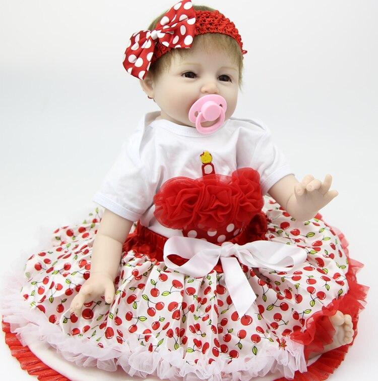 22 Inch 55cm Silicone Soft Reborn Baby Dolls Handmade Baby Newborn Lovely Babies Girl Kids Birthday Xmas Gift