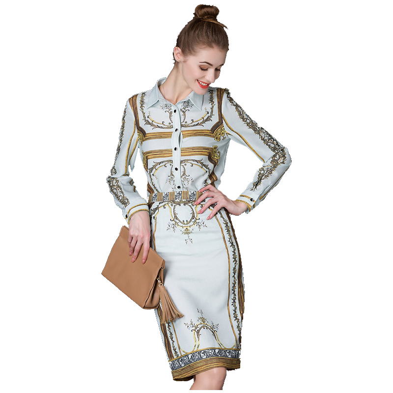 2018 Elegant Women's Design Russian Style Vintage 2 Pieces Skirt Set Slim Blouse Straight Skirt Retro Linen Twin Sets Transuits