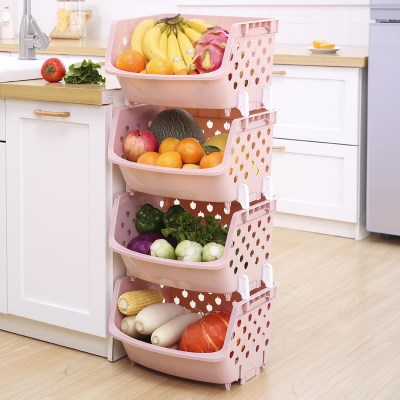 High Quality Kitchen Cabinet Storage Home Kitchen Supplies Small Department Storage Vegetable Dish Food Basket Multi-layer