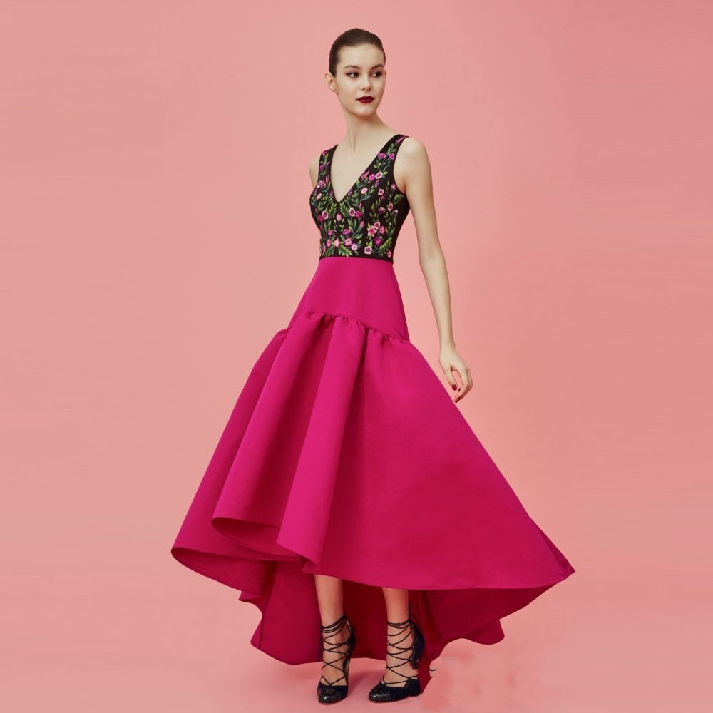 Hot Pink Satin Skirts Glamorous High Low Party Skirts High Invisible ...