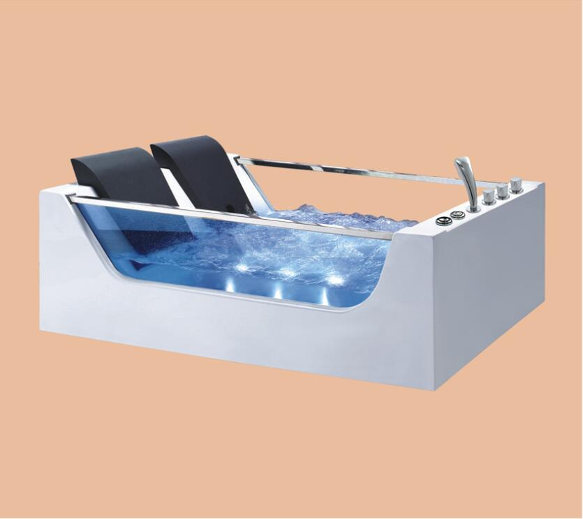1800mm Fiberglass whirlpool Bathtub Acrylic hydromassage Surfing Colourful LED Light Bubble Tub NS3027