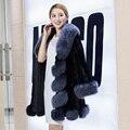 Natural Full leather real fox fur collar Overcoat for women medium-long Solid color Mink fur coat nratural fur waistcoat#C9002