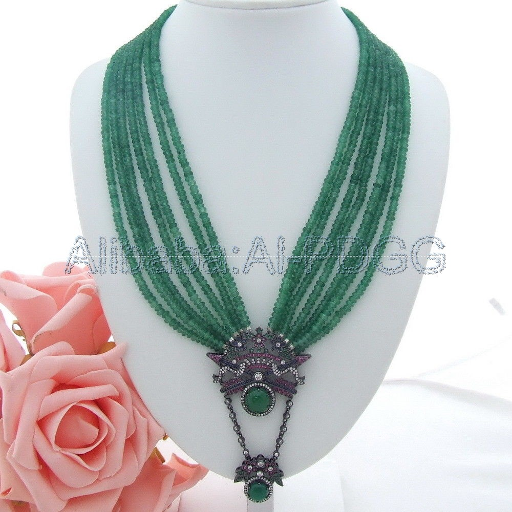20''-23'' 7 Strands Green Stone Necklace CZ Pendant 20 23 7 strands green stone necklace cz pendant