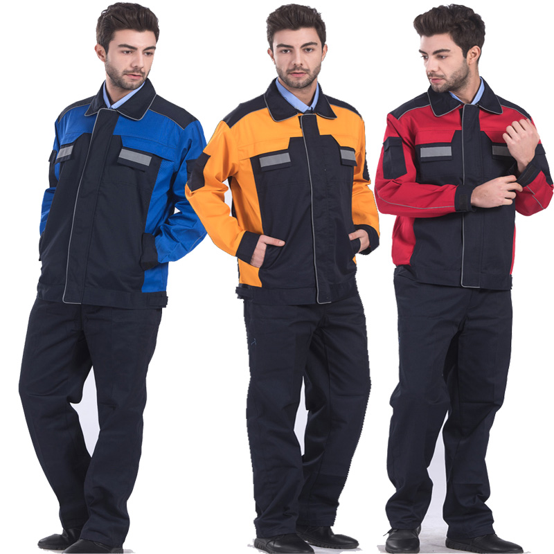 Mens Polyester Cotton Reflective Workwear Jacket and Trousers Work Set Clothing with Reflective Stripe Embroidery Logo