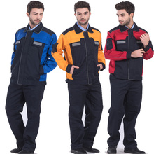 Mens Polyester Cotton Reflective Workwear Jacket and Trousers Work Set Clothing with Stripe Embroidery Logo Printing