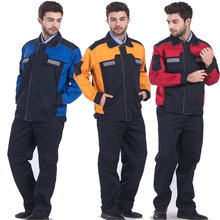 Mens Polyester Cotton Reflective Workwear Jacket and Trousers Work Set Clothing with Reflective Stripe Embroidery Logo Printing(China)