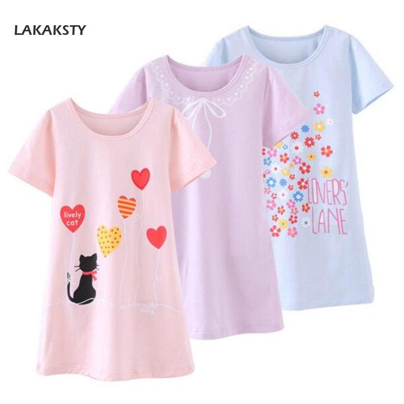 4-14 T Katoen Kinderen Meisjes Nachthemden Nieuwe Pyjama Jurk Tiener Homewear Nachthemd Kinderen Nachtkleding Voor Baby Meisje Zomer Kleding