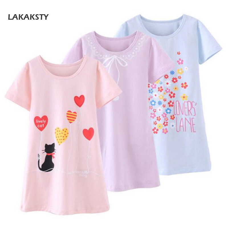 4-14T Cotton Children Girls Nightgowns New Pajama Dress Teenager Homewear Nightdress Kids Sleepwear For Baby Girl Summer Clothes new 2018 children cloth 3d print autumn sleepwear rn 9 girls baby cotton girl sleepwear dress kids party princess nightgown