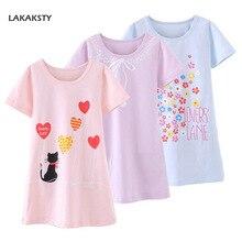 4-14T Cotton Children Girls Nightgowns New Pajama Dress Teenager Homewear Nightdress Kids Sleepwear For Baby Girl Summer Clothes