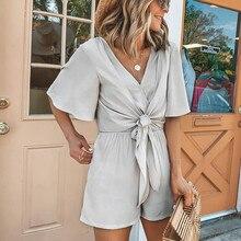 купить Sexy V-Neck Jumpsuit Solid Gray women's suit Women Knot Bandage Flare Sleeve Rompers дешево
