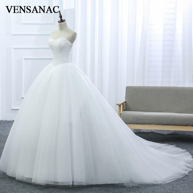 Baru A Line Lace Strapless Off Bahu Tanpa Lengan Putih Satin Bridal - Gaun pengantin