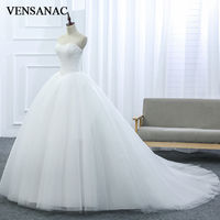 New A Line Lace Strapless Off The Shoulder Sleeveless White Satin Bridal Wedding Dress Wedding Gown30437