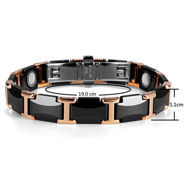 Black Ceramic Tungsten Steel Energy Power Magnetic Link Bracelet