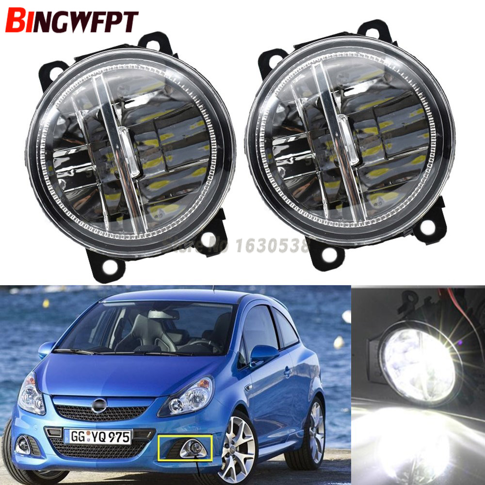 2x Car Exterior Accessories White 6000K LED Fog Lamps Light For Opel Corsa D OPC 2007-2011