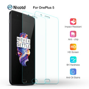 2PCS Screen Protector Glass On The For Oneplus 5T Tempered Glass Phone Film For One plus 5 5T A5010 2.5D Protective Film Nicotd(China)