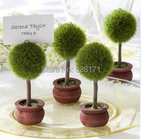 Free shipping 24pcs/lot Wedding Favor Topiary Tree Photo and Place Card Holder Wedding Table Decoration