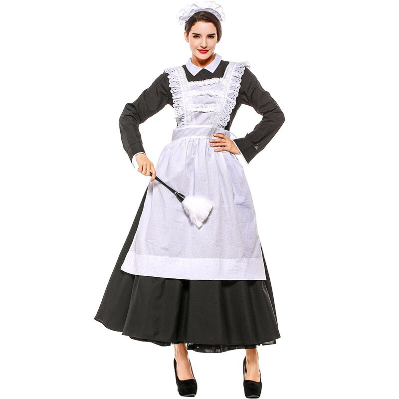French Maid Costume Adult Women Black White Long Gown ...