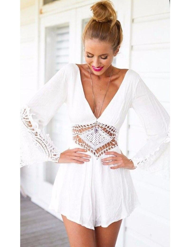 Summer Overalls Ladies Dress White V Neck Chiffon Elegant ...