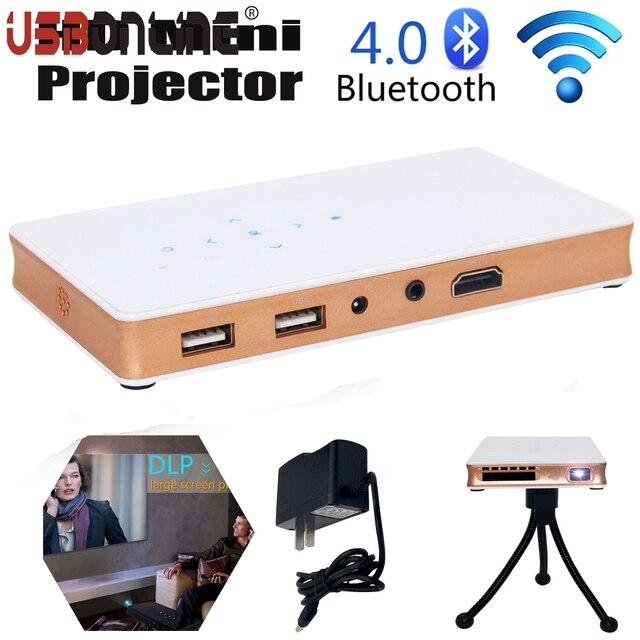 Мини Карманный Портативный DLP Проектор Для Домашнего Кинотеатра HD 1080 P HDMI 2.4 Г/5 Г dual-band Bluetooth4.0 WI-FI Проектор Для IOS Android4.4