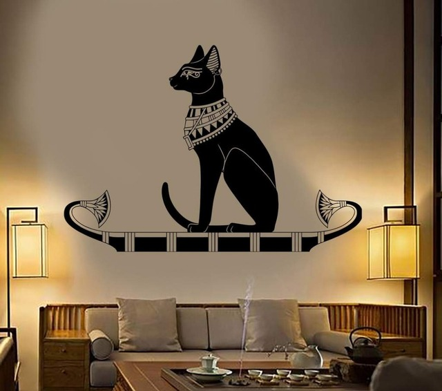 . US  6 97 25  OFF Wall Decoration Animal Wall Decal Stickers Bedroom Decor  Ancient Egypt Egyptian Cat Poster Vinyl Art Removeable Mural D542 in Wall