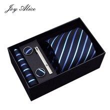 Joy alice New Design Tie Set With Gift Box Jacquard Woven gravata Silk Hanky Cufflinks Necktie Sets For Wedding Party Men