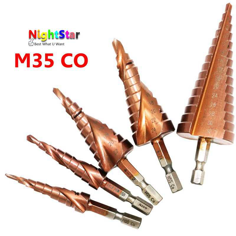 5pcs HSS Cobalt Multiple Hole 3-12 4-12 4-22 6-24 4-32mm Hex Shank 1/4 Inch Spiral Flute Grooved Step Drill Bit HSS Co/M35 3 175 12 0 5 40l one flute spiral taper cutter cnc engraving tools one flute spiral bit taper bits