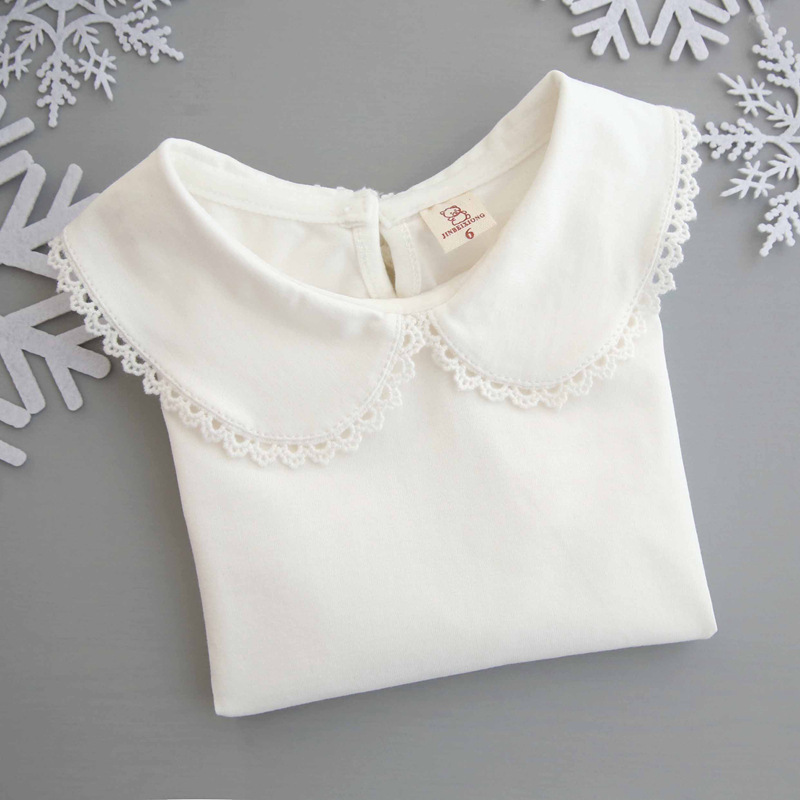 New Spring and Autumn Girls <font><b>Basic</b></font> <font><b>Shirts</b></font> Cotton Kids Tops White T <font><b>shirt</b></font> for 6M-5 Years Long Sleeve <font><b>Baby</b></font> Girl Clothes DQ957 image
