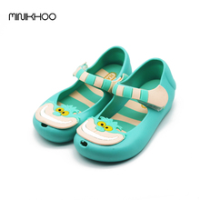 Alice In Wonderland MINI Melisa Shoes 2016 Girls Sandals Cheshire Cat Smile Cat Sandals Beach Sandals High Quality